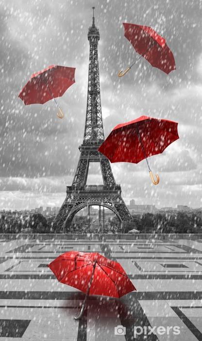 Fototapeta winylowa Wieża Eiffla z latającymi parasolami. -