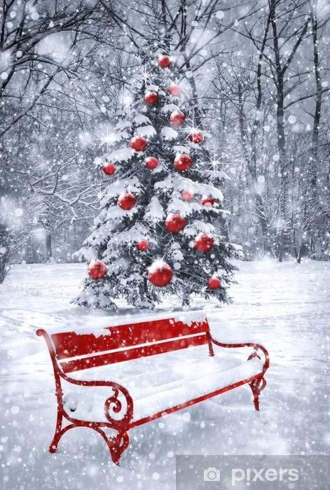 Vinilo para Nevera Fondo de Navidad de invierno. Escena con el elemento rojo. gra del concepto - iStaging