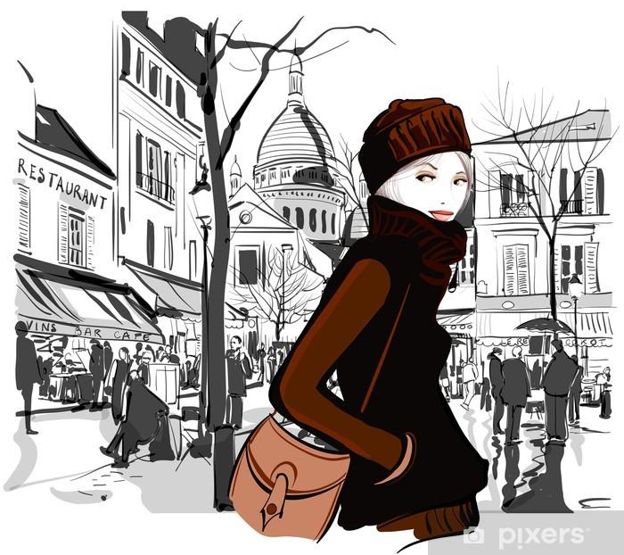 Fotomural Estándar Mujer en la plaza de Montmartre - Para el salón