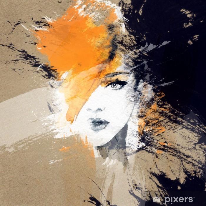 Pixerstick Sticker Vrouw portret .abstract aquarel Mode-achtergrond - Mensen