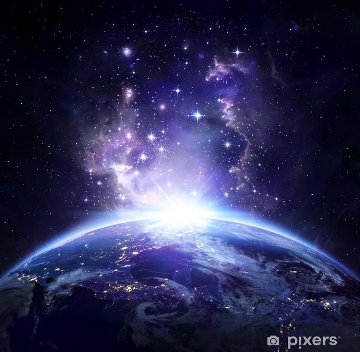 Sticker Pixerstick Vue de la Terre depuis l'espace la nuit - USA - Univers