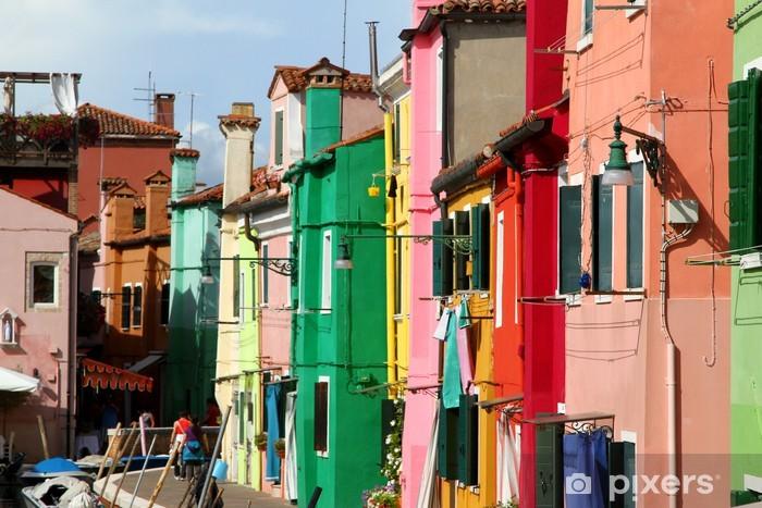 Fotomural Estándar Muchas casas de colores en la isla de Burano cerca de Venecia - Ciudades europeas