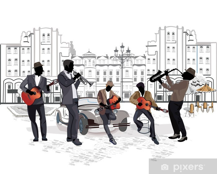 Naklejka Pixerstick Seria widokiem na ulicę z muzykami - Do kawiarni