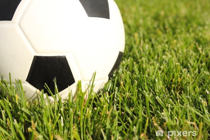 Naklejka Pixerstick Piłka nożna na boisku piłkarskim -