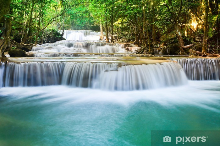 Beautiful waterfall in the deep forest Vinyl Wall Mural - Themes