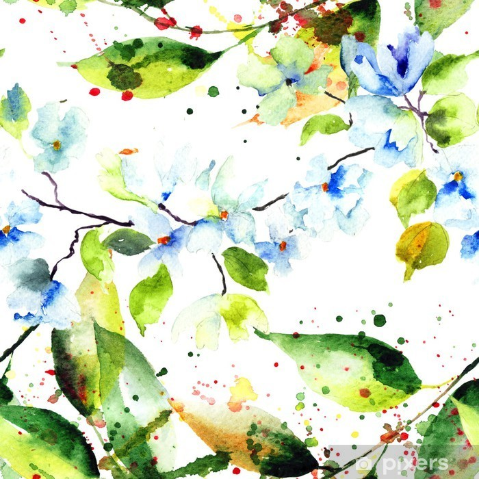 Kevät saumaton malli kukkia Pixerstick tarra - Muu Muu