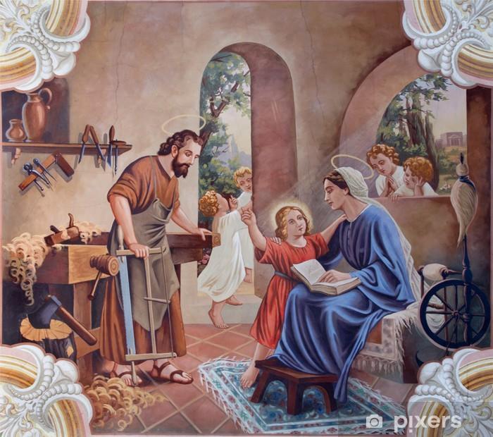 Pixerstick Sticker De fresco van de Heilige Familie van de dorpskerk - Thema's