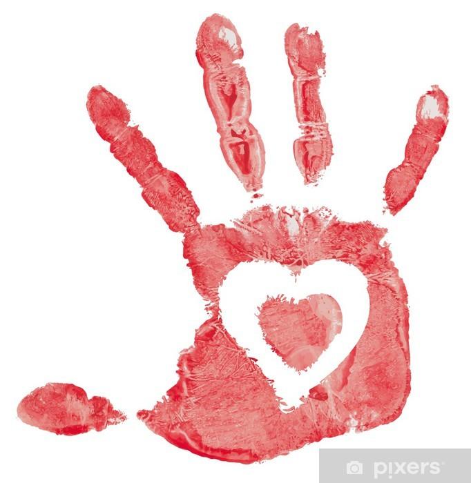 Yksityiskohta imprint käden sydämen, vektori kuva valkoisella Vinyyli valokuvatapetti - Kyltit Ja Symbolit