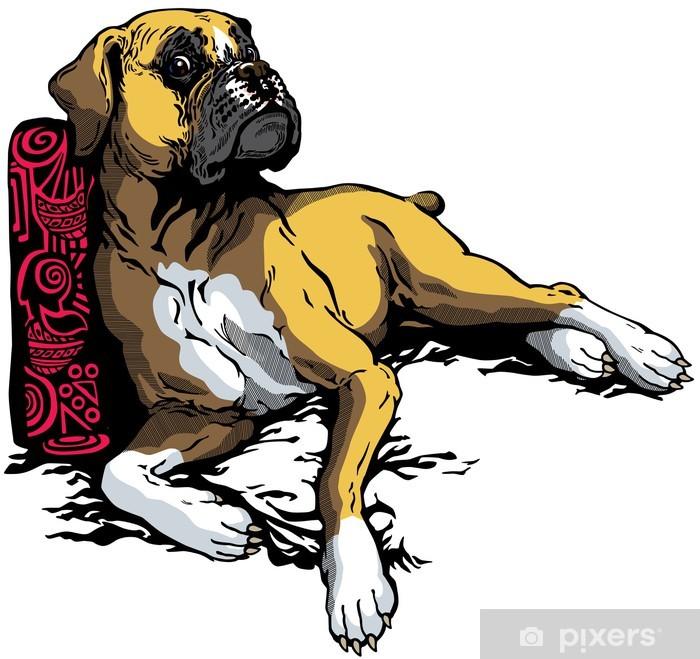 Papier peint vinyle Boxer chien - Mammifères