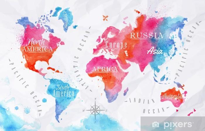 Fototapete Aquarell Weltkarte Rosa Blau Pixers Wir Leben