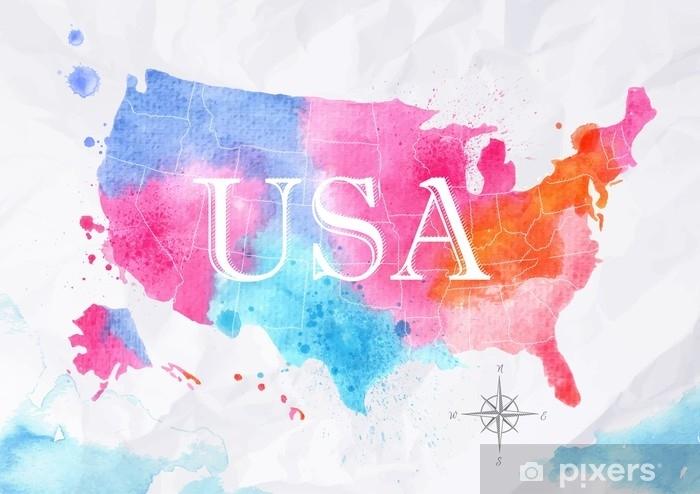 Watercolor map United States pink blue Sticker - Pixerstick on calendar stickers, kentucky stickers, hawaii map stickers, usa patchwork map stickers, wyoming stickers, barbados map stickers, mississippi stickers, states visited maps stickers, north carolina stickers, united states state abbreviations,