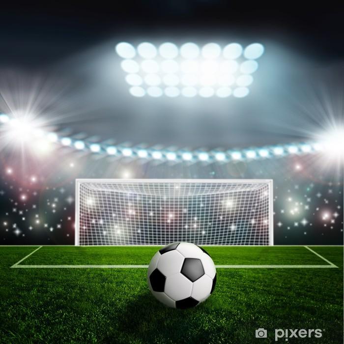 Soccer ball on green stadium arena Framed Poster - iStaging