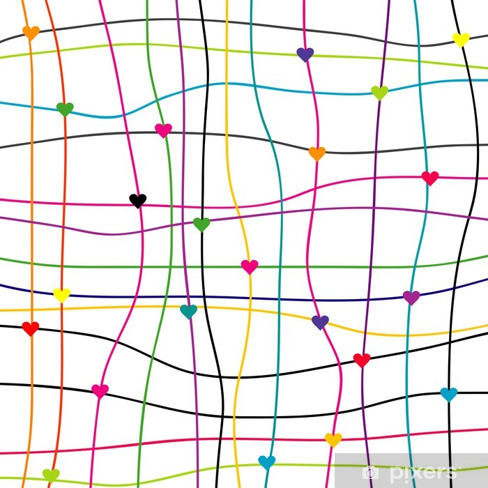 Sticker Kleurrijke achtergrond met hartjes en lijnen • Pixers ...
