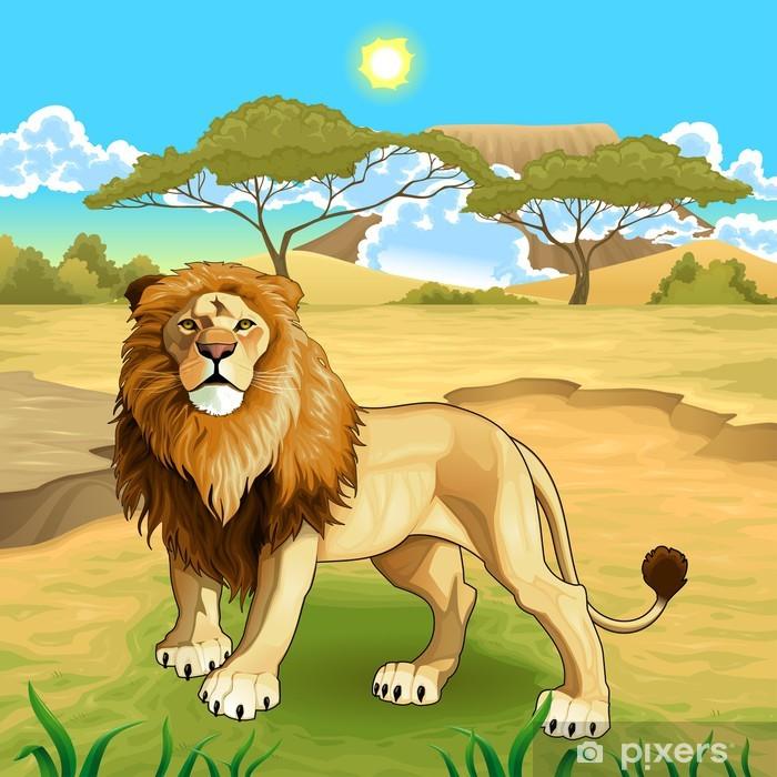 e58c7dcbf2256 Papier peint Paysage africain avec le roi lion. • Pixers® - Nous ...