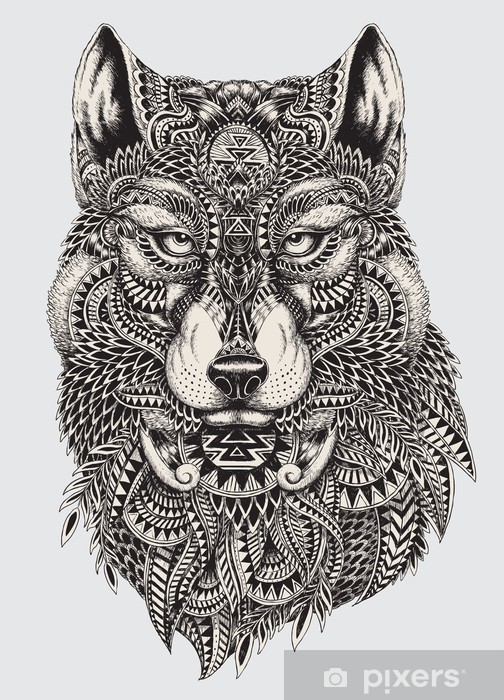 Highly detailed abstract wolf illustration Pixerstick Sticker - Styles