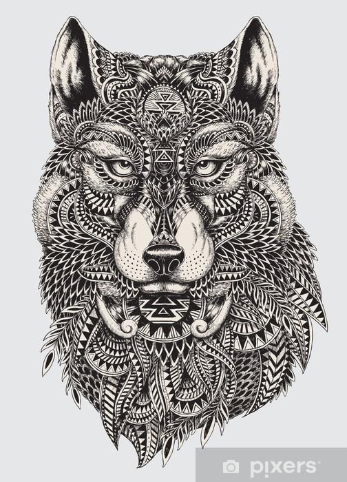 Pixerstick Sticker Zeer gedetailleerde abstracte wolf illustratie - Stijlen