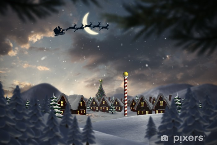 Composite image of silhouette of santa claus and reindeer Pixerstick Sticker - Themes
