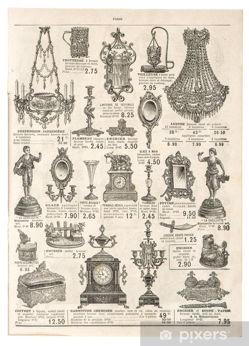 antique victorian objects. retro shop advertising Pixerstick Sticker - Textures