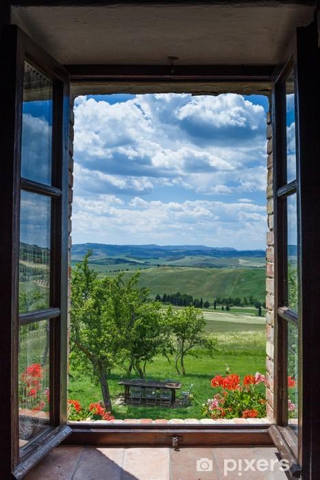 Vinyl Fotobehang Toscaanse landschap uit raam - Platteland
