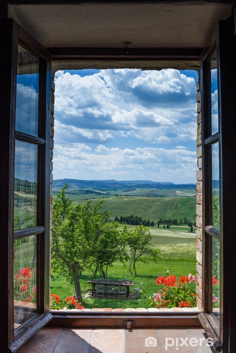 Tuscany landscape from window Vinyl Wall Mural - Countryside