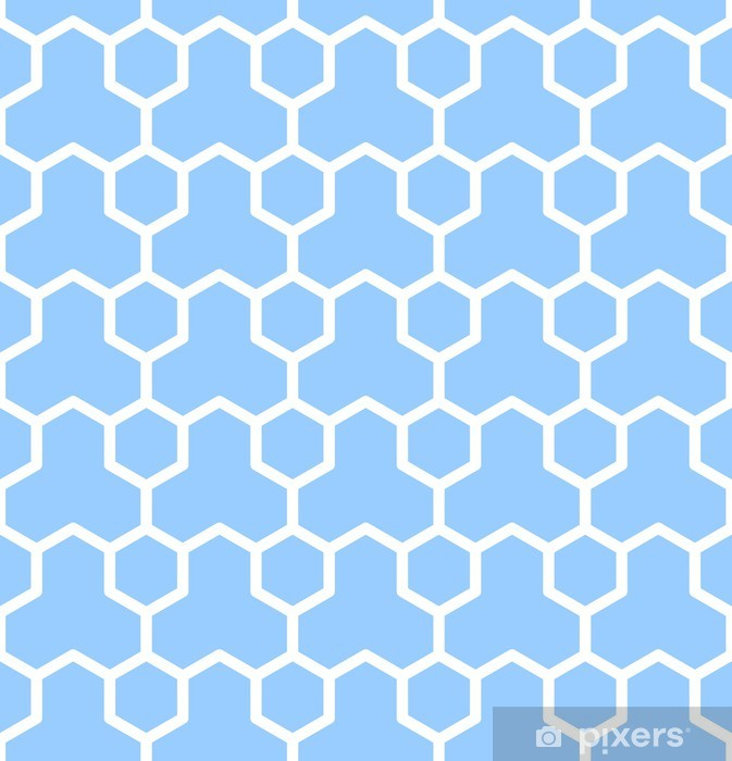 Sømløs geometrisk tekstur. Blå sekskant mønster. Pixerstick klistermærke - Baggrunde