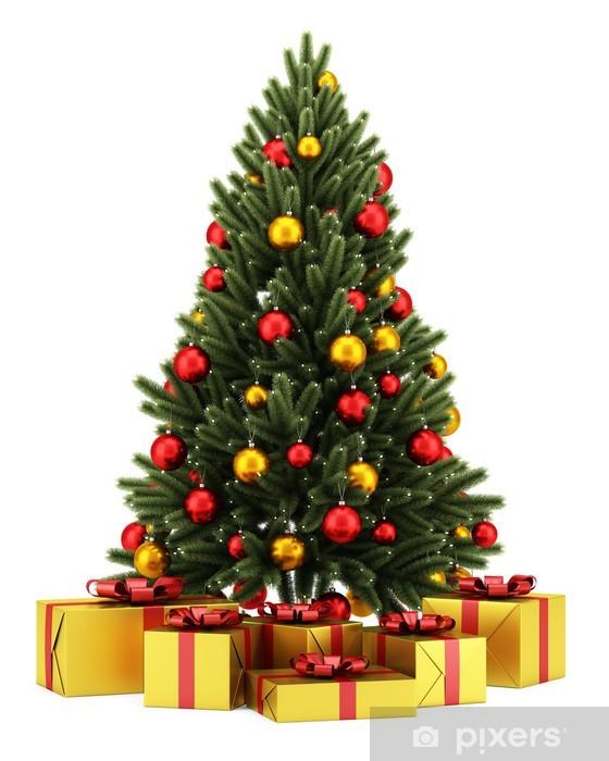Albero Di Natale Regali.Adesivo Albero Di Natale Decorato Con Scatole Regalo Isolato Su Backg Bianco Pixers Viviamo Per Il Cambiamento