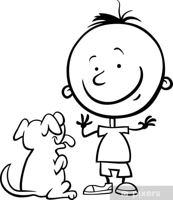 Köpek Karikatür Boyama Ile çocuk Duvar Resmi Pixers Haydi