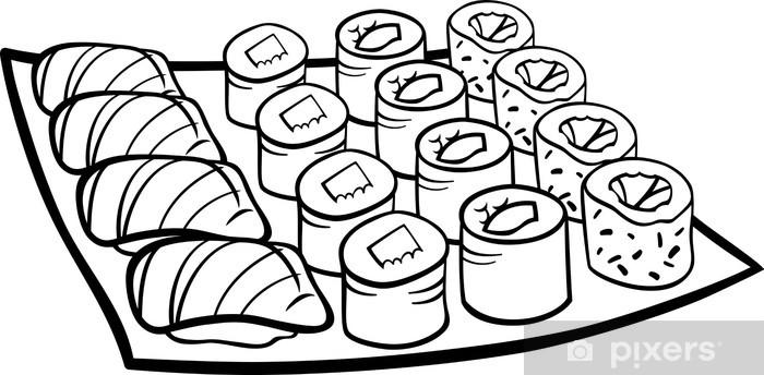 Papier Peint Sushi Déjeuner Coloriage Dessin Animé