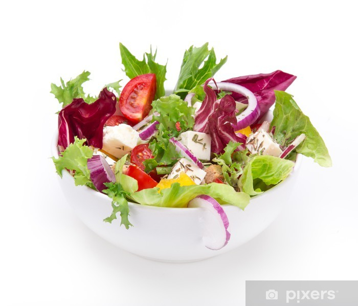 Fresh Salad Isolated On White Background Wall Mural Vinyl