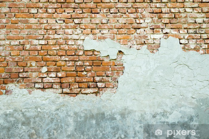 Sticker Pixerstick Le vieux mur de briques crépies - Thèmes