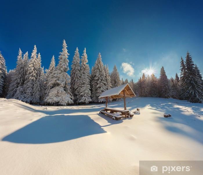 Plakat Zimowa bajka po obfitych opadów śniegu w lesie górskiej - Pory roku