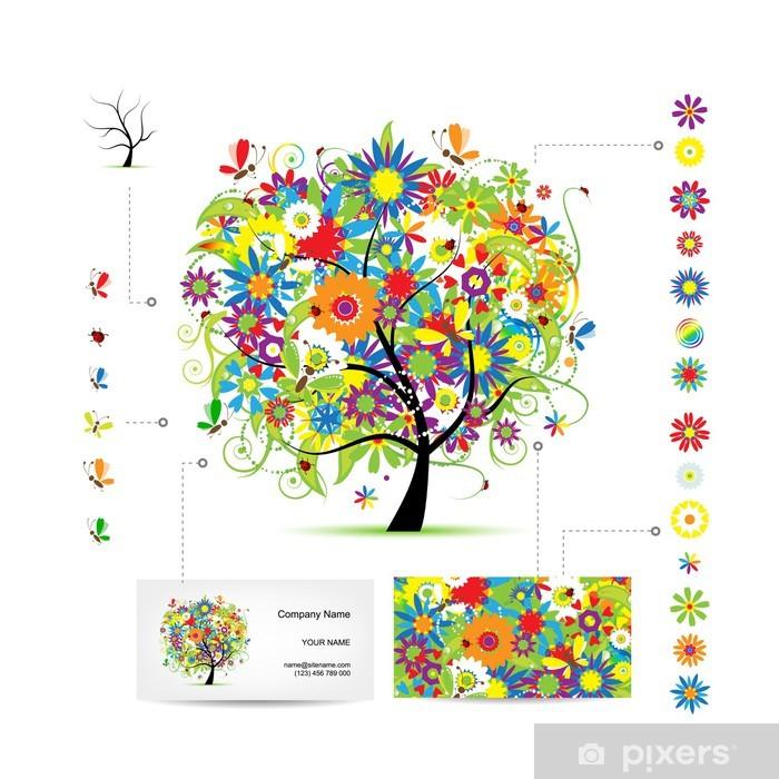Fototapete Infografik Baum Mit Lustigen Vögel Visitenkarte Vorlage