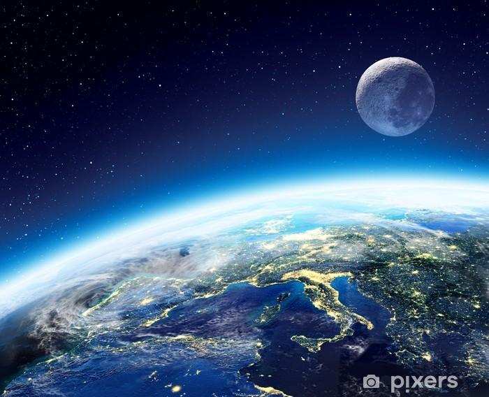Fototapeta winylowa Widok Ziemi i Księżyca z kosmosu w nocy - Europa - Gwiazdy