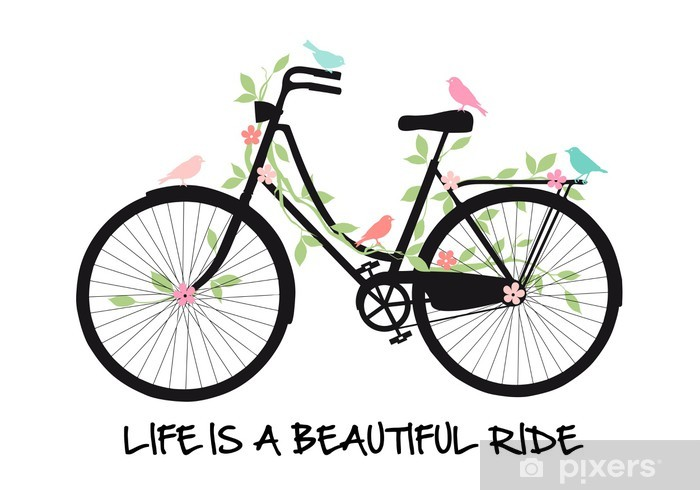 Vintage bicycle with birds and flowers, vector Pixerstick Sticker - On the Road