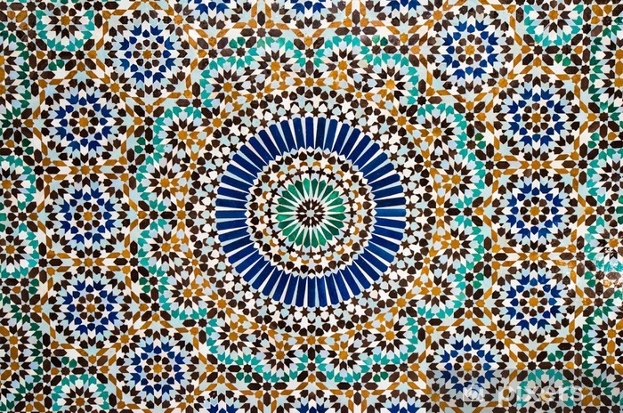 moroccan vintage tile background Pixerstick Sticker - Mosaic