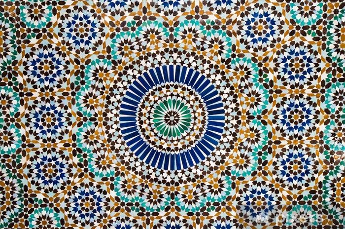 Vinilo Pixerstick Marroquí de fondo de azulejos de época - Mosaico