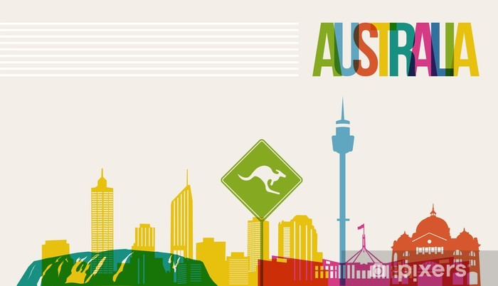 Vinyl Fotobehang Reizen Australië bestemming oriëntatiepunten skyline achtergrond - Oceanië
