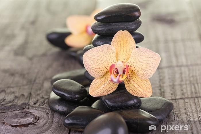 Sticker Pixerstick Jaunes Orchidées Moth et pierres noires sur le pont résisté - Beauté et soins du corps