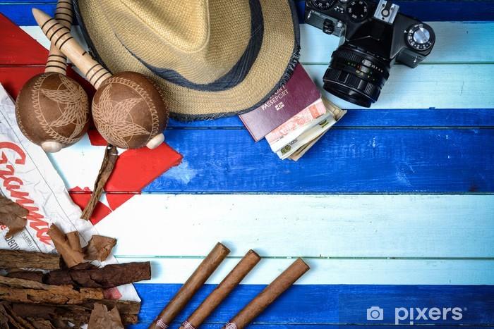 Fotomural Estándar Cigarros Cuba y el instrumento de música - Temas