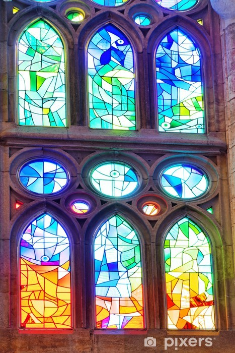 Stained-glass window in old Catholic temple. Spain. Vinyl Wall Mural - European Cities