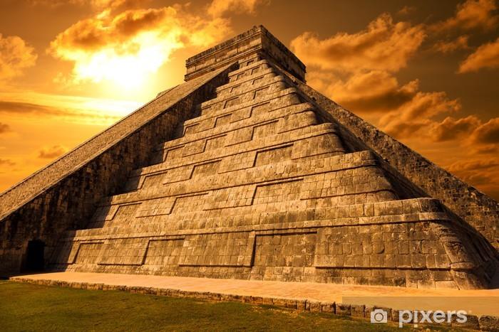 Pixerstick Sticker El Castillo van Chichen Itza. Maya-piramide in Yucatan, Mexico - Vakantie