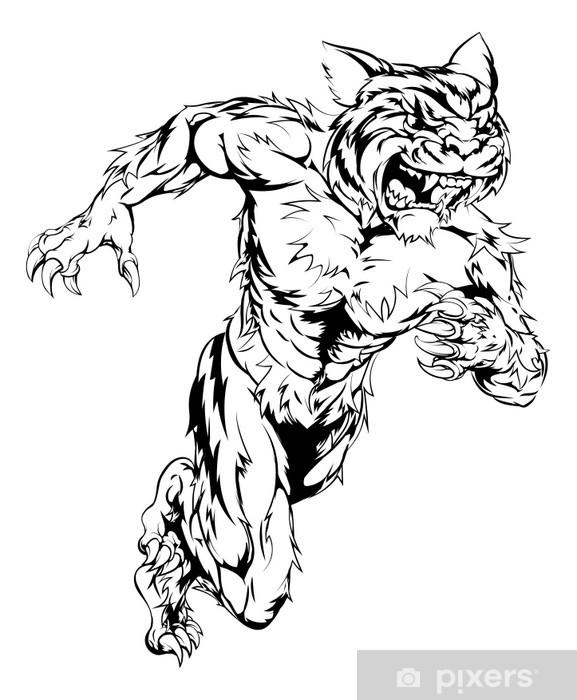 Naklejka Pixerstick Tiger sport maskotki bieg - Sporty drużynowe