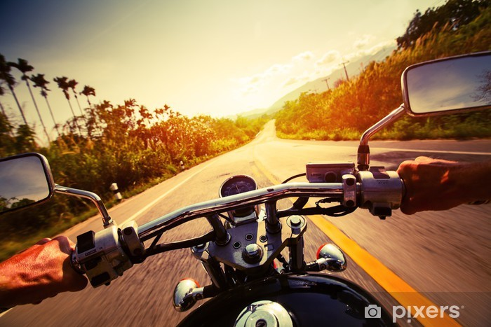 Sticker Pixerstick Motocyclette - Sur la route