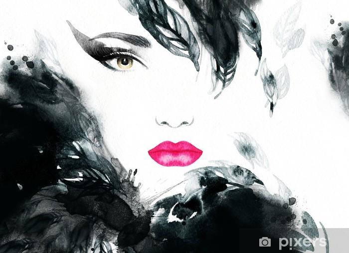 Adesivo Pixerstick Ritratto di donna. acquerello astratto. moda sfondo - Moda
