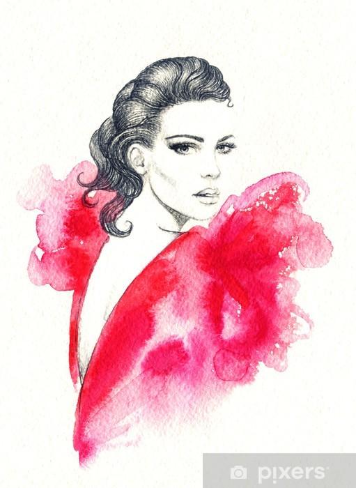 65e71b1b6463 Carta da Parati in Vinile Ritratto di donna. acquerello astratto. moda  sfondo - Donne