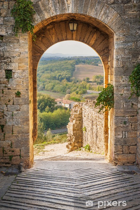 Exit the town of Monteriggioni with views of the Tuscan landscap Pixerstick Sticker - iStaging