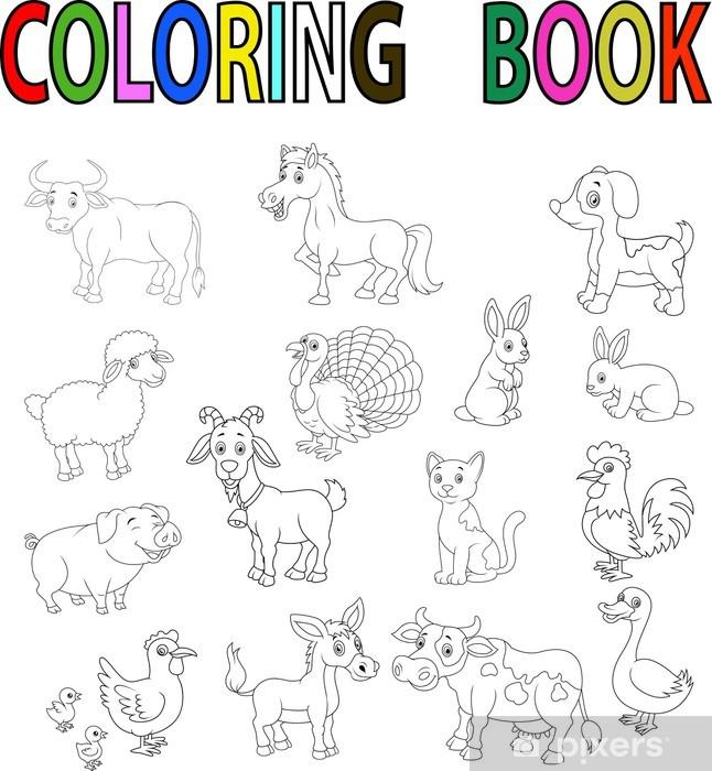 Fotomural Estándar Libro Para Colorear Animales De Granja