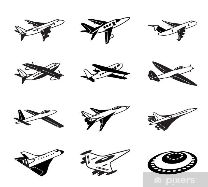 Naklejka Pixerstick Różne samoloty w locie - ilustracji wektorowych - Transport powietrzny