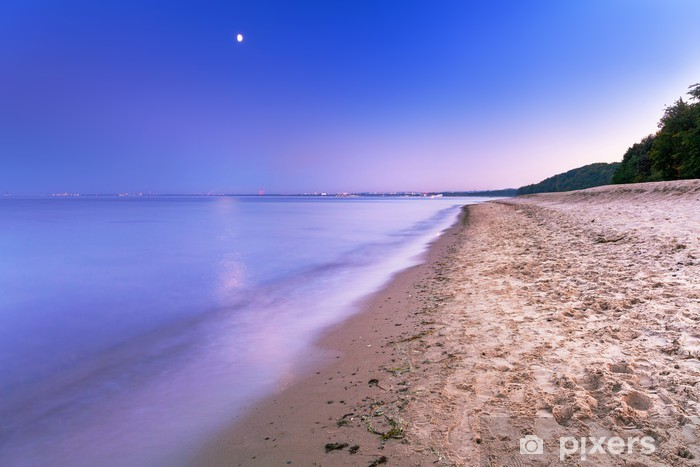 Full Moon At Baltic Sea Beach Poland Wall Mural Pixers