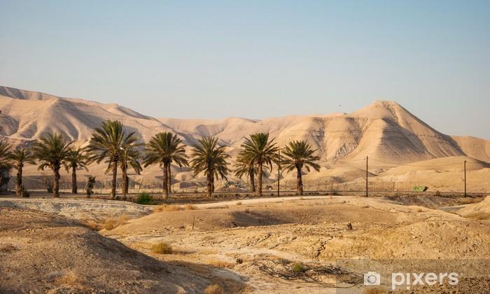 Landscape with Judean Mountains and Judean desert in Israel Pixerstick Sticker - Desert